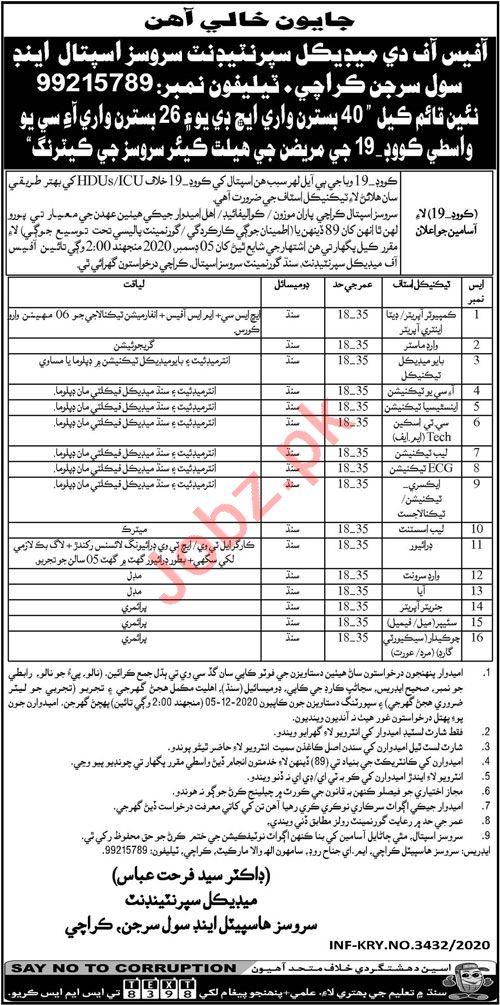 Services Hospital & Civil Surgeon Karachi Jobs 2020