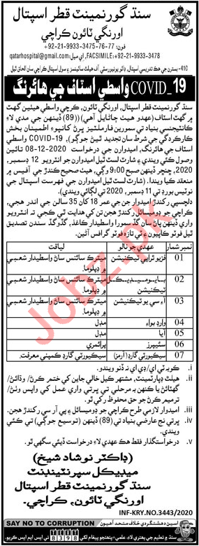 Sindh Government Qatar Hospital Karachi Jobs for Technicians