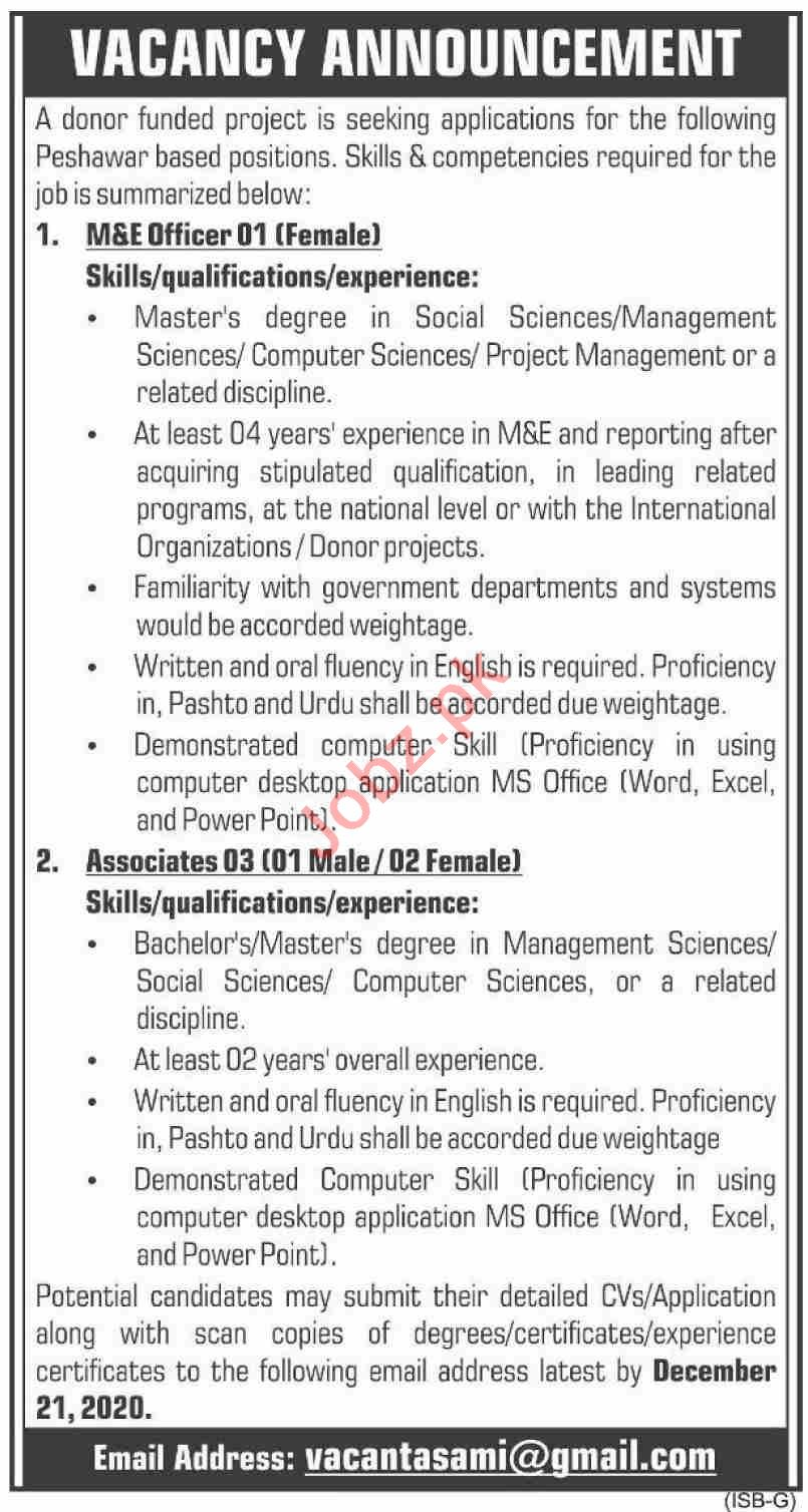 M&E Officer Jobs 2020 in Donor Funded Project Karachi