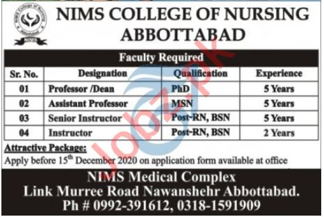 NIMS College of Nursing Abbottabad Jobs 2020 for Professors