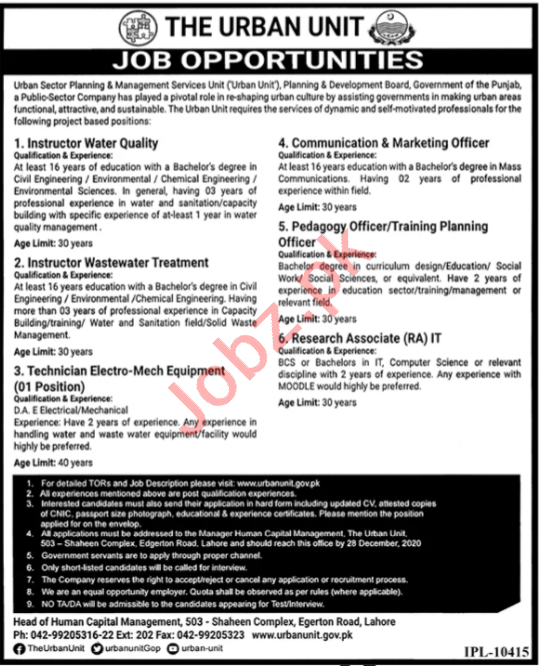 The Urban Unit Lahore Jobs for Instructor & Planning Officer