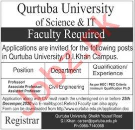 Qurtuba University D I Khan Jobs 2020 for Professors