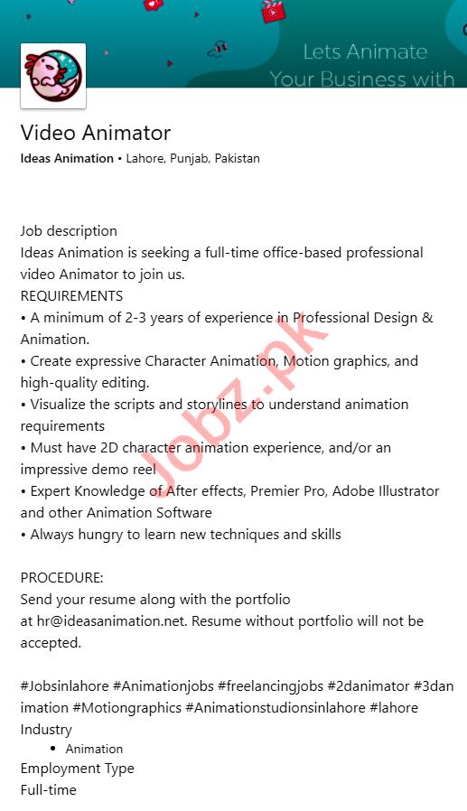 Ideas Animation Lahore Jobs 2020 for Video Animator