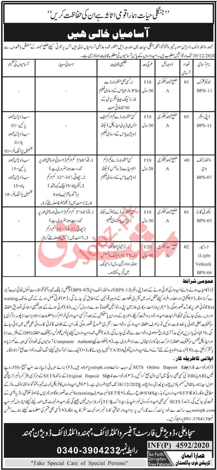 Mohmand Wildlife Division Jobs 2020 for Driver & Clerk
