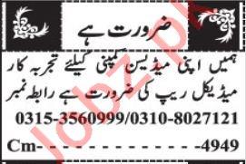 Medical Rep & Medical Representative Jobs 2021 in Quetta
