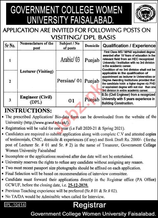 Government College Women University Faisalabad GCWUF Jobs