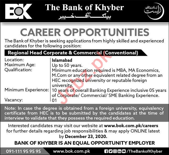 The Bank of Khyber BOK Jobs 2020 for Regional Head