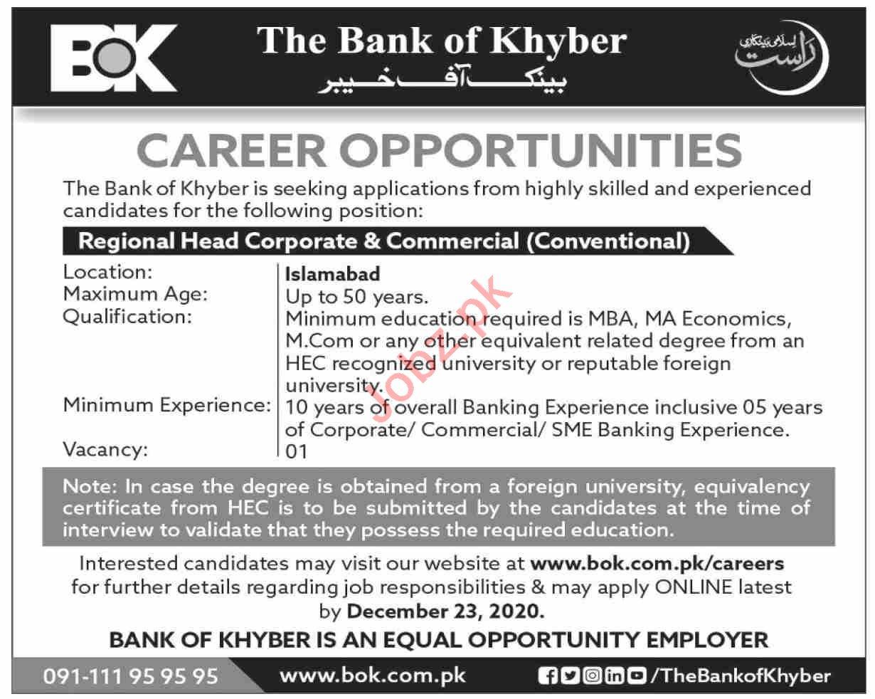 Regional Head Corporate Jobs 2020 in The Bank of Khyber BOK