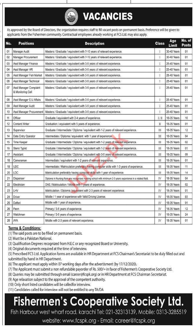 Fishermens Cooperative Society Limited FCS Karachi Jobs 2020