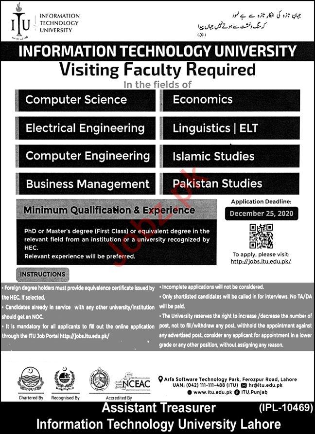 Information Technology University ITU Lahore Jobs 2020