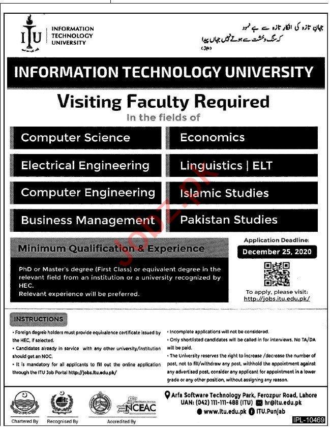 Information Technology University ITU Faculty Jobs 2020