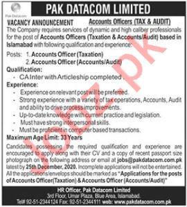 Accounts Officer & Taxation Officer Jobs in Pak Datacom