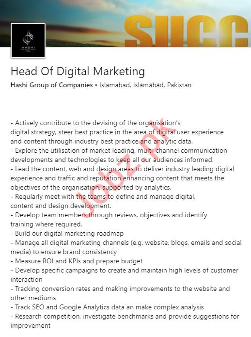 Hashi Group of Companies Islamabad Jobs 2020