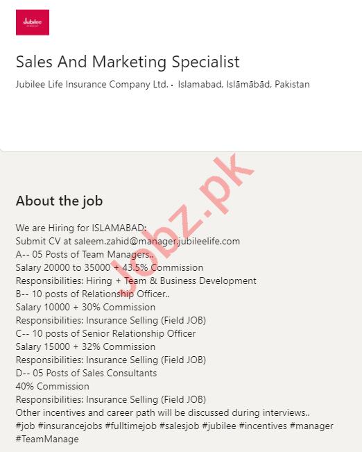 Jubilee Life Insurance Company Islamabad Jobs 2020