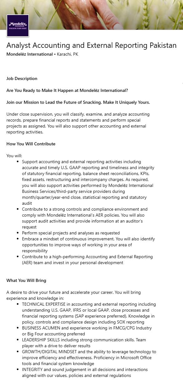 Mondelez International Pakistan Jobs 2020 Analyst Accounting