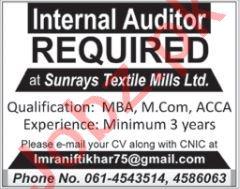 Sunrays Textile Mills Multan Jobs 2020 for Internal Auditor