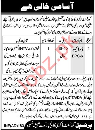 Government Degree College Balakot Jobs 2020 for Drivers