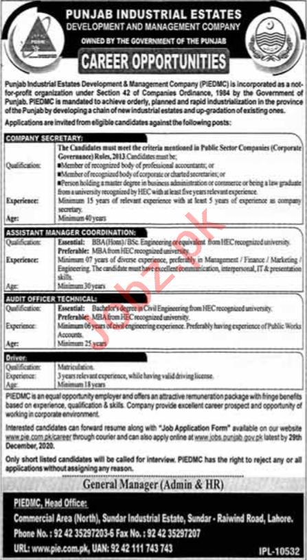 Punjab Industrial Estates Development PIEDMC Jobs 2021