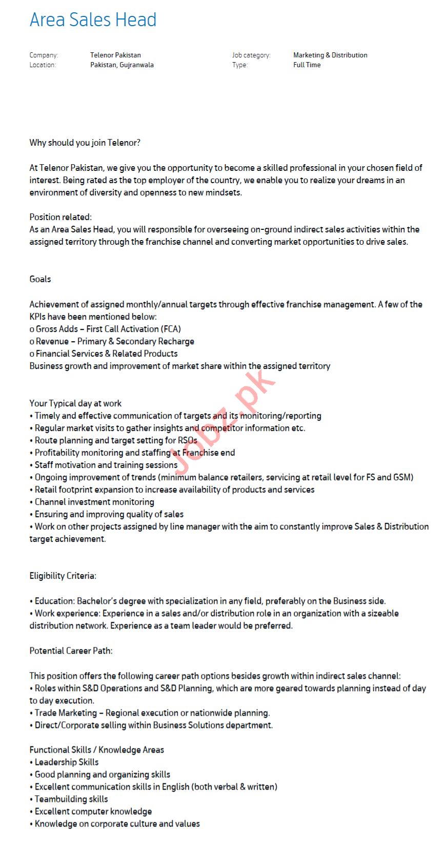 Area Sales Head Jobs 2020 in Telenor Pakistan