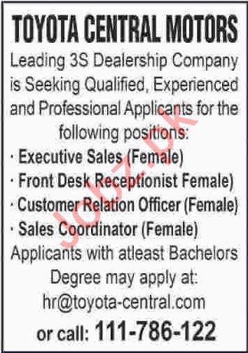 Female Executive Sales & Female Sales Coordinator Jobs 2020