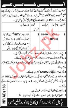 Government Degree College Balakot Mansehra Jobs 2020