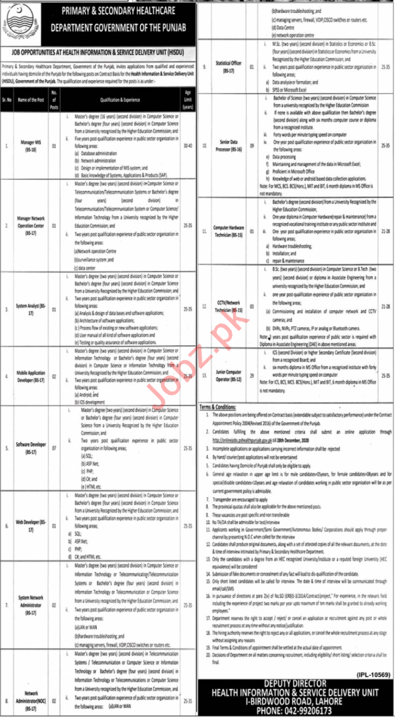 Health Information and Service Delivery Unit HISDU Jobs 2020