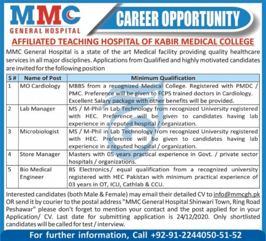 MMC General Hospital Jobs 2020 in Peshawar KPK