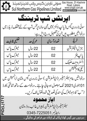 Sui Northern Gas Pipelines Limited SNGPL Internship Jobs