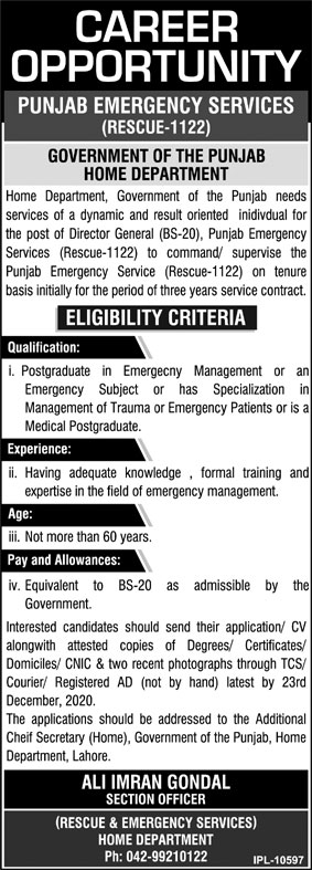 Punjab Emergency Service Rescue 1122 Jobs 2020