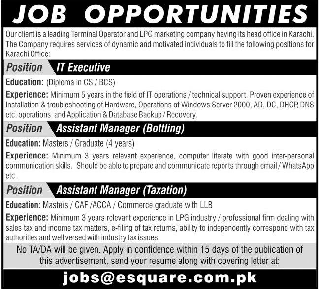 Esquare Services Jobs 2020 in Karachi Office