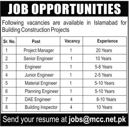Mumtaz Construction Company MCC Jobs 2020 in Islamabad