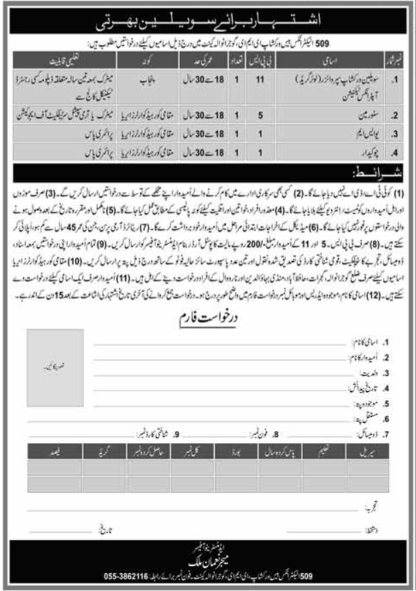 Pak Army 509 Electronics Base Workshop EME Jobs 2020