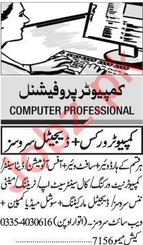 Jang Sunday Classified Ads 13 Dec 2020 for Computer Staff