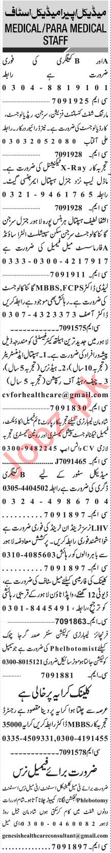 Jang Sunday Classified Ads 13 Dec 2020 for Health Staff