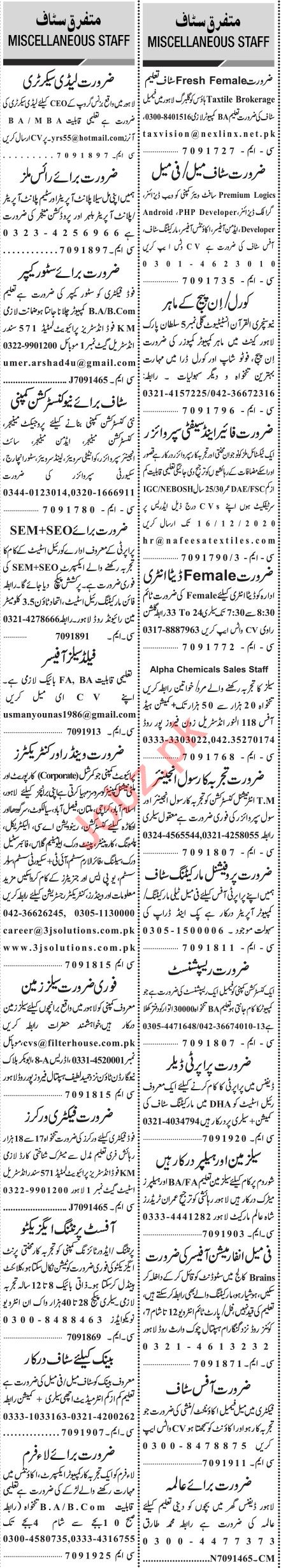 Jang Sunday Classified Ads 13 Dec 2020 for Executive Staff
