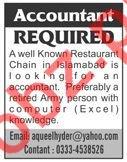 Accountant Jobs in Restaurant