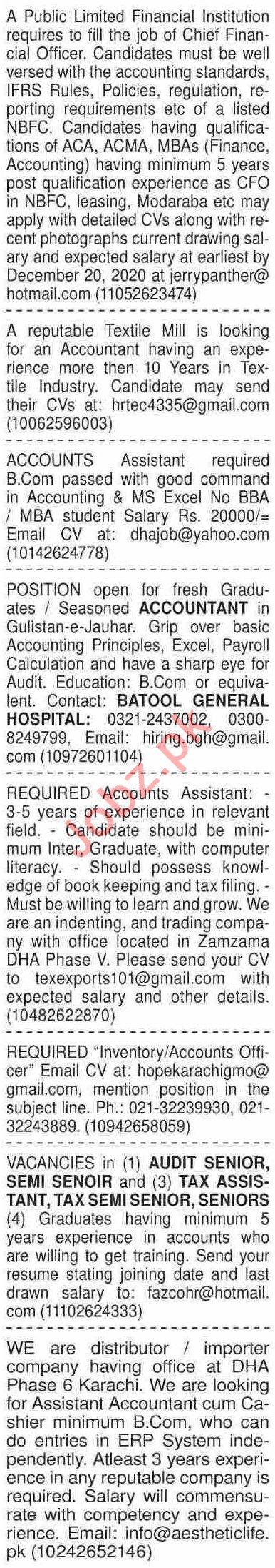 Dawn Sunday Classified Ads 13 Dec 2020 for Accounts Staff