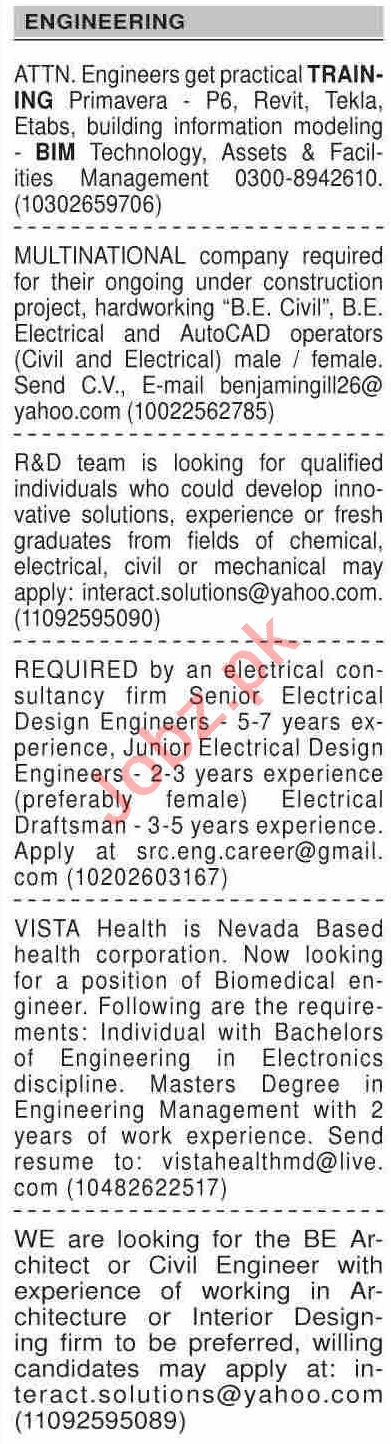 Dawn Sunday Classified Ads 13 Dec 2020 for Engineering Staff