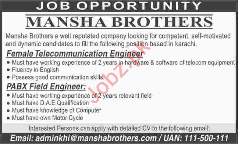 Female Telecommunication Engineer & PABX Field Engineer Jobs