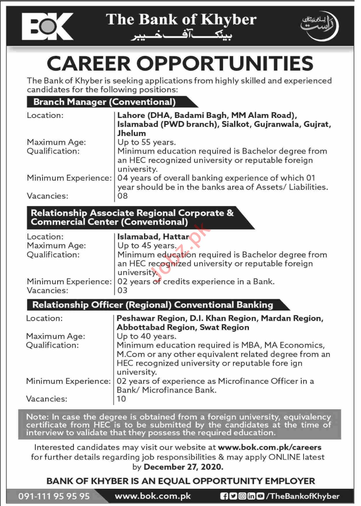 The Bank of Khyber BOK Jobs 2020 for Branch Manager