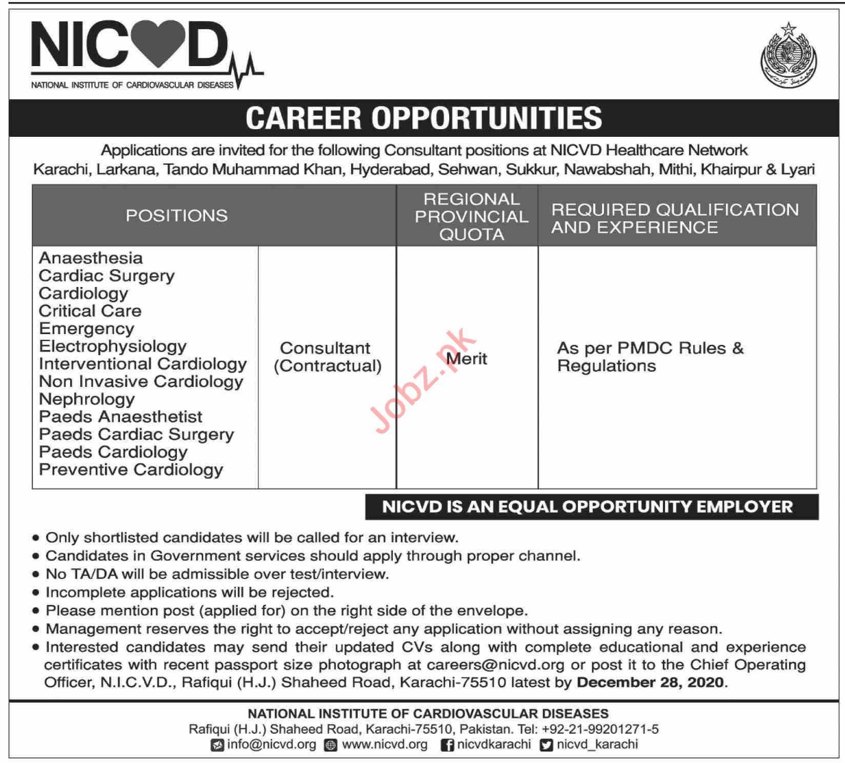 Nicvd Sindh Jobs 2020 For Medical Consultant 2021 Job Advertisement Pakistan