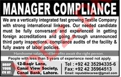 Manager Compliance & Manager Jobs 2020 in Lahore