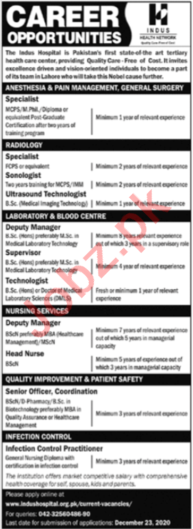 Indus Health Network IHN Lahore Jobs 2020 for Doctors