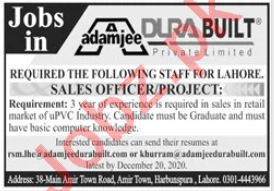 Sales Officer & Project Officer Jobs in Adamjee Engineering