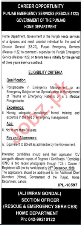 Punjab Emergency Services Rescue 1122 Punjab Jobs 2020