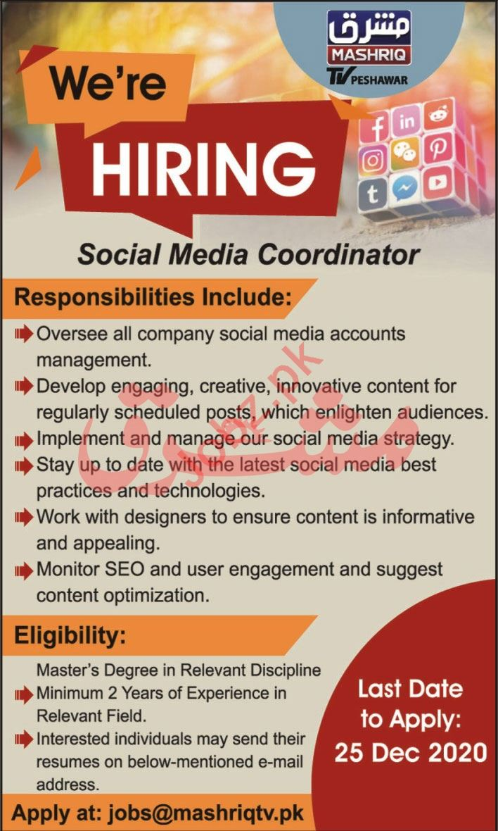 Mashriq TV Peshawar Jobs 2020 for Social Media Coordinator