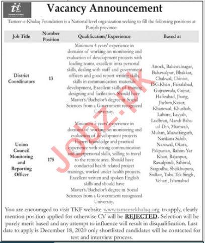 Tameer E Khalaq Foundation Punjab Jobs 2020 for Coordinator