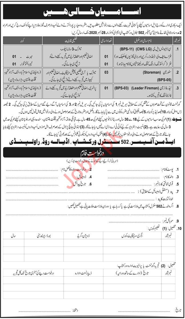 Pak Army 502 Central Workshop EME Rawalpindi Jobs 2020