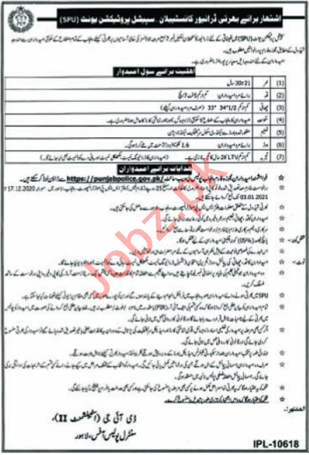 Special Protection Unit SPU Jobs 2021 for Constable