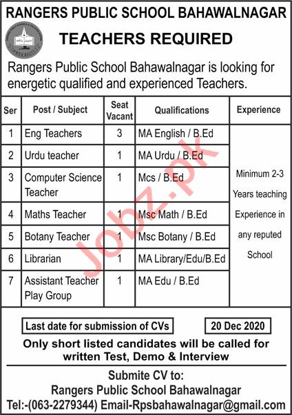 Rangers Public School Bahawalnagar Jobs 2020 for Teachers